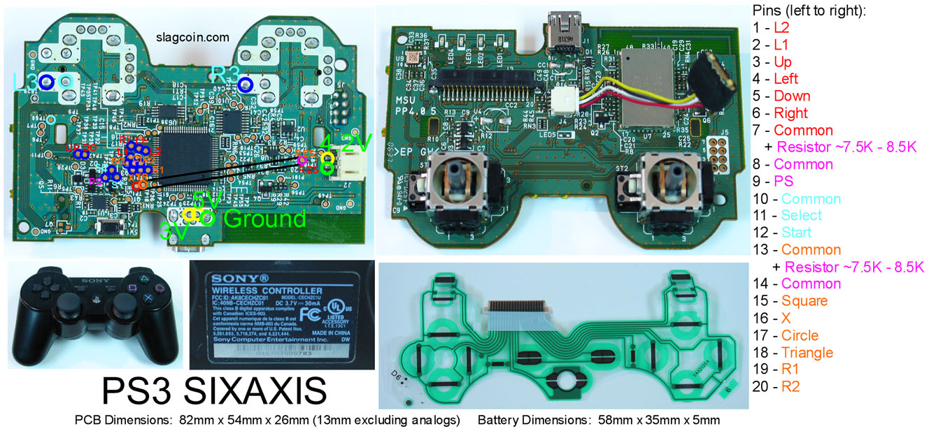 Index of joystick pcb diagrams